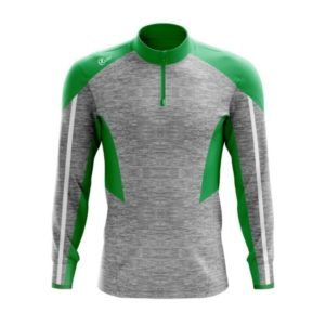 Half Zip ( Melange Grey/ Emerald Green/ White )