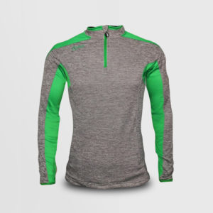 Half Zip – Melange Grey/Green