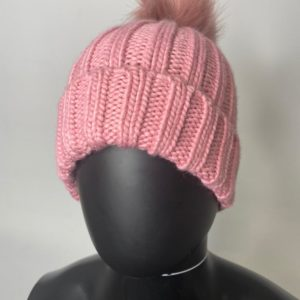 Ladies Braided Beanie – Pink